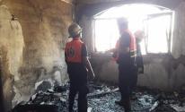 شاهد: إخماد حريق نشب في منزل شرق خان يونس
