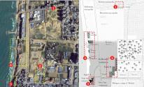خريطة الاكتشافات الأثرية في الموقع وخريطة الموقع عبر جوجل تبين الانتهاكات بحق الموقع الأثري.
