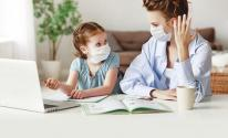 معاناة الام في التعليم عن بعد