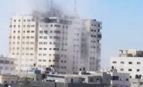 شاهد: طائرات الاحتلال تقصف برج الأندلس في منطقة