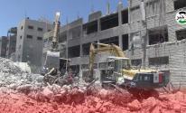 إزالة ركام برج الشروق بغزة
