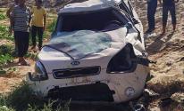 شاهد.. 4 إصابات بحادث سير جنوب قطاع غزة