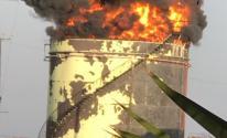 شاهد.. اندلاع حريق كبير بخزان نفط في لبنان