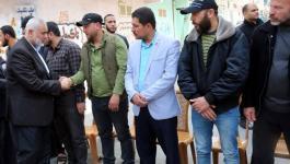 هنية والنخالة يُعزيّان بوفاة شقيق القيادي سمير المشهراوي