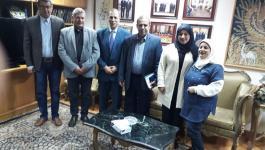 وفد من نقابة الصحفيين الفلسطينيين يلتقى أمين عام اتحاد الصحفيين العرب