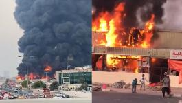 حريق ضخم في سوق شعبي بعجمان