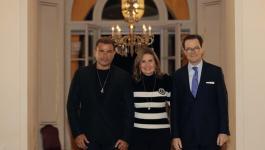 عمرو دياب ويسرا في أمسية موسيقية ثقافية بالسفارة الفرنسية