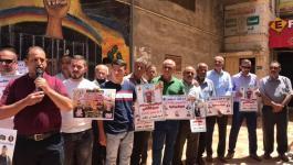 وقفة إسناد مع 5 أسرى مضربين عن الطعام في سجون الاحتلال بجنين