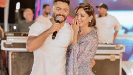 بسمة بوسيل تفاجئ تامر حسني وتغني له بمناسبة عيد ميلاده في ختام حفلاته