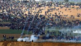 إصابات بالرصاص والاختناق جراء قمع الاحتلال لمسيرة العودة السلمية.jpg