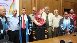 بالصور: جامعة الأزهر بغزة تمنح باحثة درجة الماجستير في علوم اللغة العربية