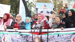 بالصور: اتحاد لجان المرأة ينظم مسيرة حاشدة بغزة رفضاً لقرار