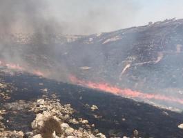 حريق هائل جنوب غرب نابلس