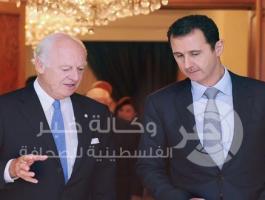 الرئيس السورى بشار الأسد و المبعوث الأممي إلى سوريا ستافان