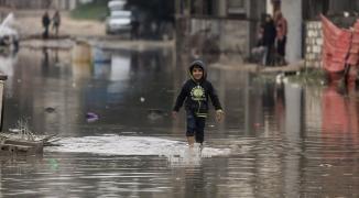 غرق منازل في شمال قطاع غزّة بفعل المنخفض الجوي