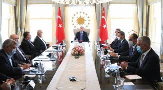 بالصور: أردوغان يستقبل هنية والوفد المرافق له