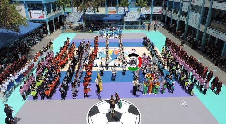 بالصور: مهرجان للأطفال في إحدى مدارس وكالة الغوث في وسط قطاع غزّة