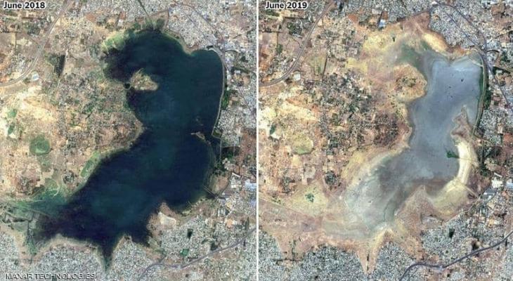 """مدينة """"جفت"""" في عام واحد.. والصور الفضائية ترصد الكارثة"""