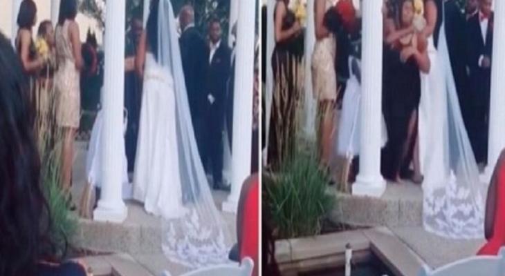 """بالفيديو: أمريكية تقتحم حفل زفاف """"عشيقها"""" وتصرخ في وجهه.. أنا حامل منك!"""