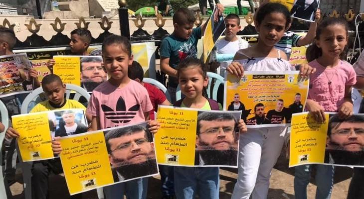 وقفة دعم وإسناد للأسرى المضربين في سجون الاحتلال بجنين