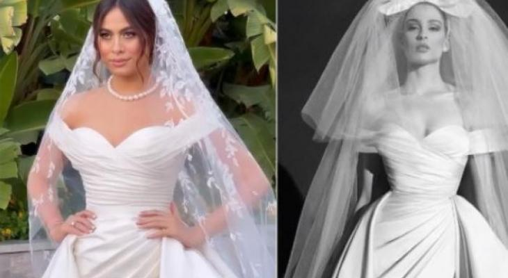 صور: هاجر أحمد تتألق بفستان زفافها من توقيع زهير مراد