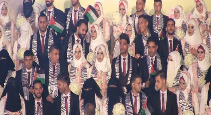 """شاهد بالفيديو.. حفل زفاف جماعي برعاية الرئيس """"عباس"""" في غزّة"""