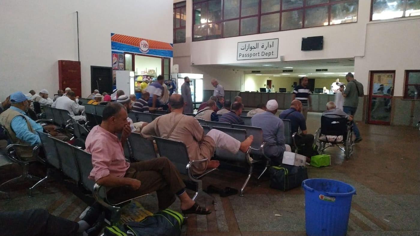 بالصور: وصول حجاج قطاع غزة للصالة المصرية