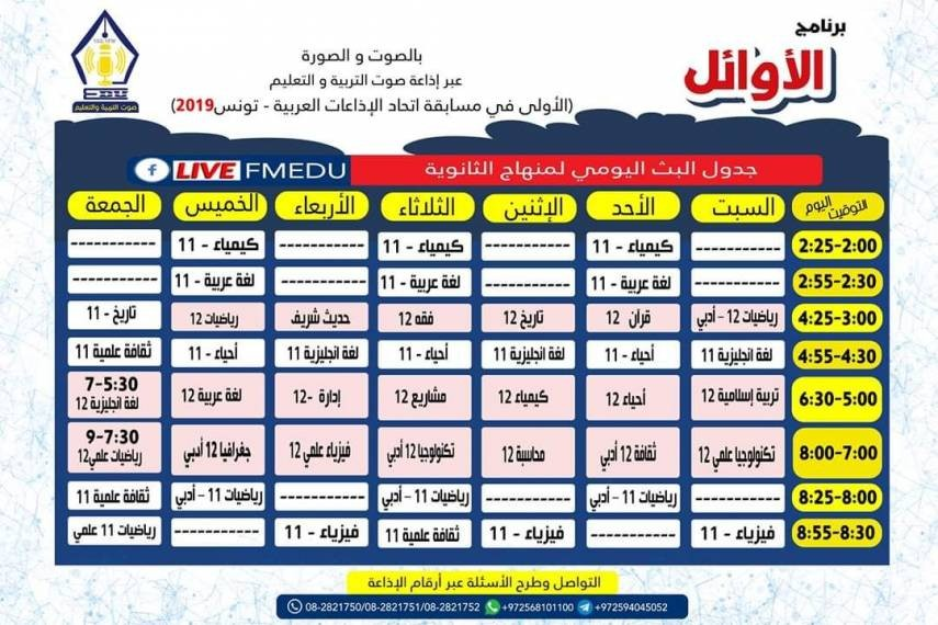 تعليم غزة ينشر جدول البث المباشر لبرنامج تعليمي خلال فترة الطوارئ