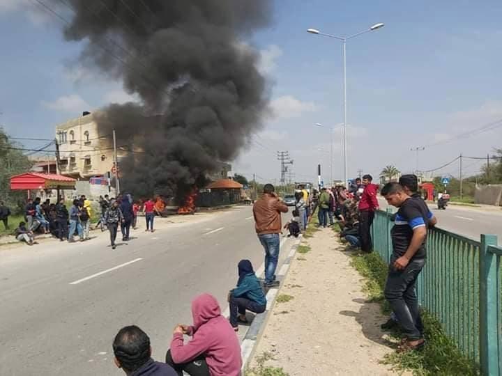 وقفة احتجاجية ضد إقامة حجر صحي في حي النصر برفح