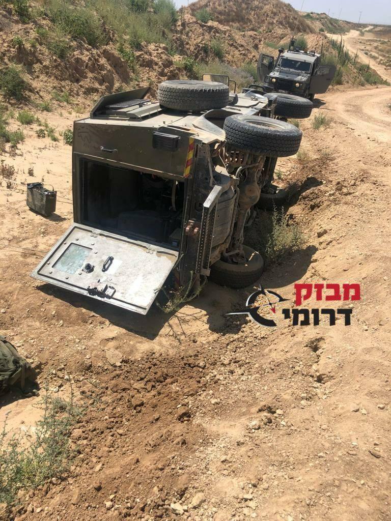 انقلاب جيب إسرائيلي في أحد مستوطنات غلاف غزة