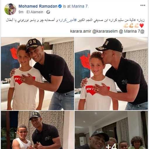 """شاهدوا: نجل الفنان """"أمير كرارة"""" في زيارة  النجم """"محمد رمضان"""""""