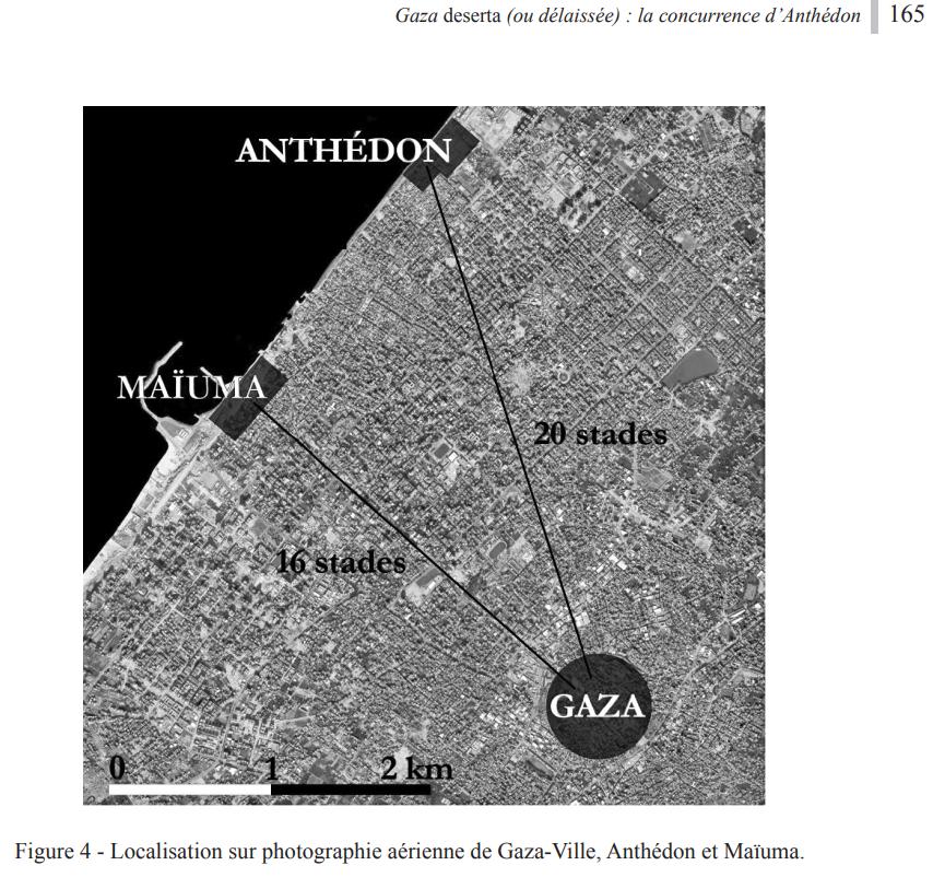 صور من الوثائق للبعثة الفرنسية توضح ميناء ميوماس الروماني وميناء أنثيدون المرتبطان بمدينة غزة القديمة.png