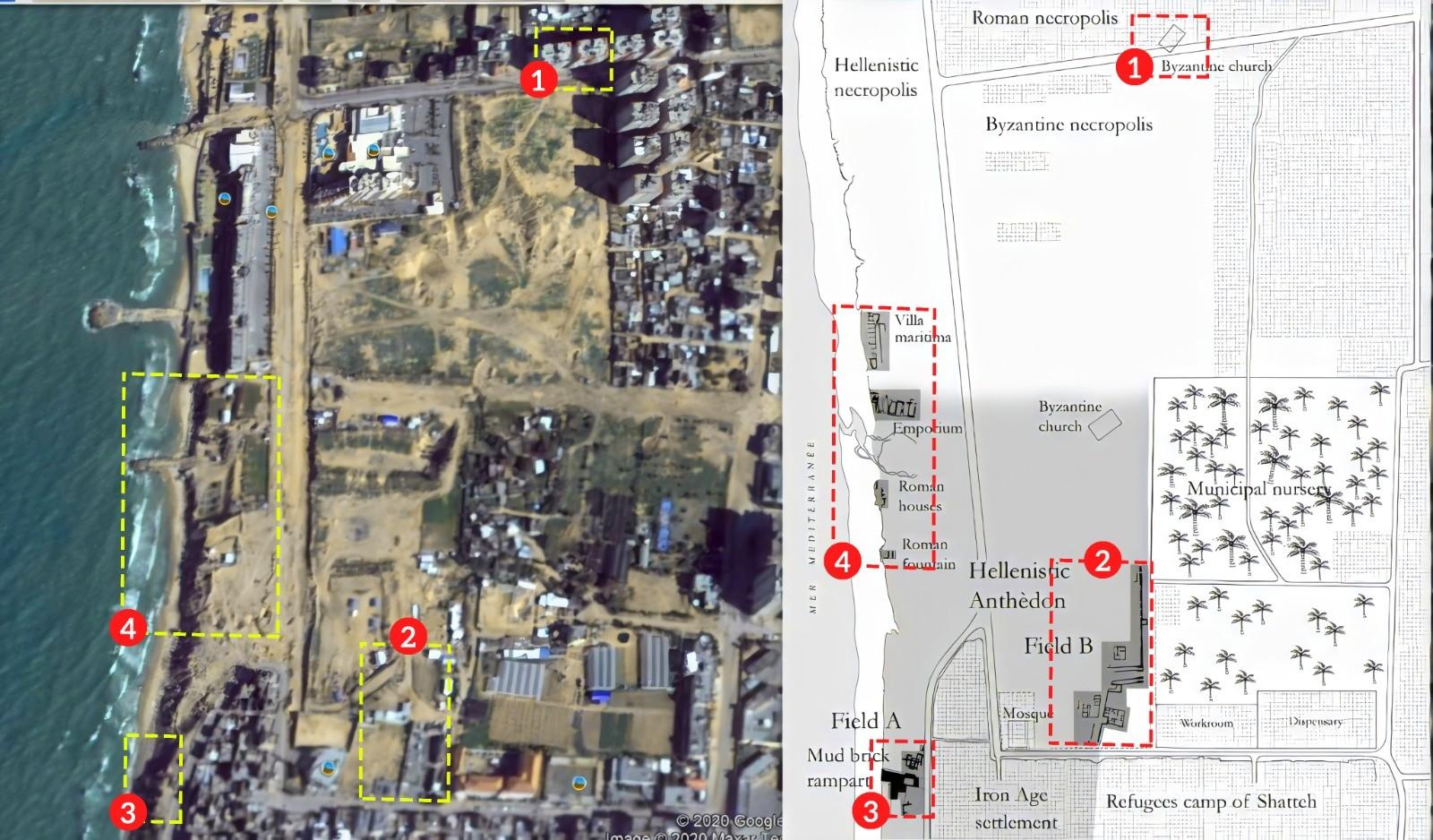 خريطة الاكتشافات الأثرية في الموقع وخريطة الموقع عبر جوجل تبين الانتهاكات بحق الموقع الأثري.jfif