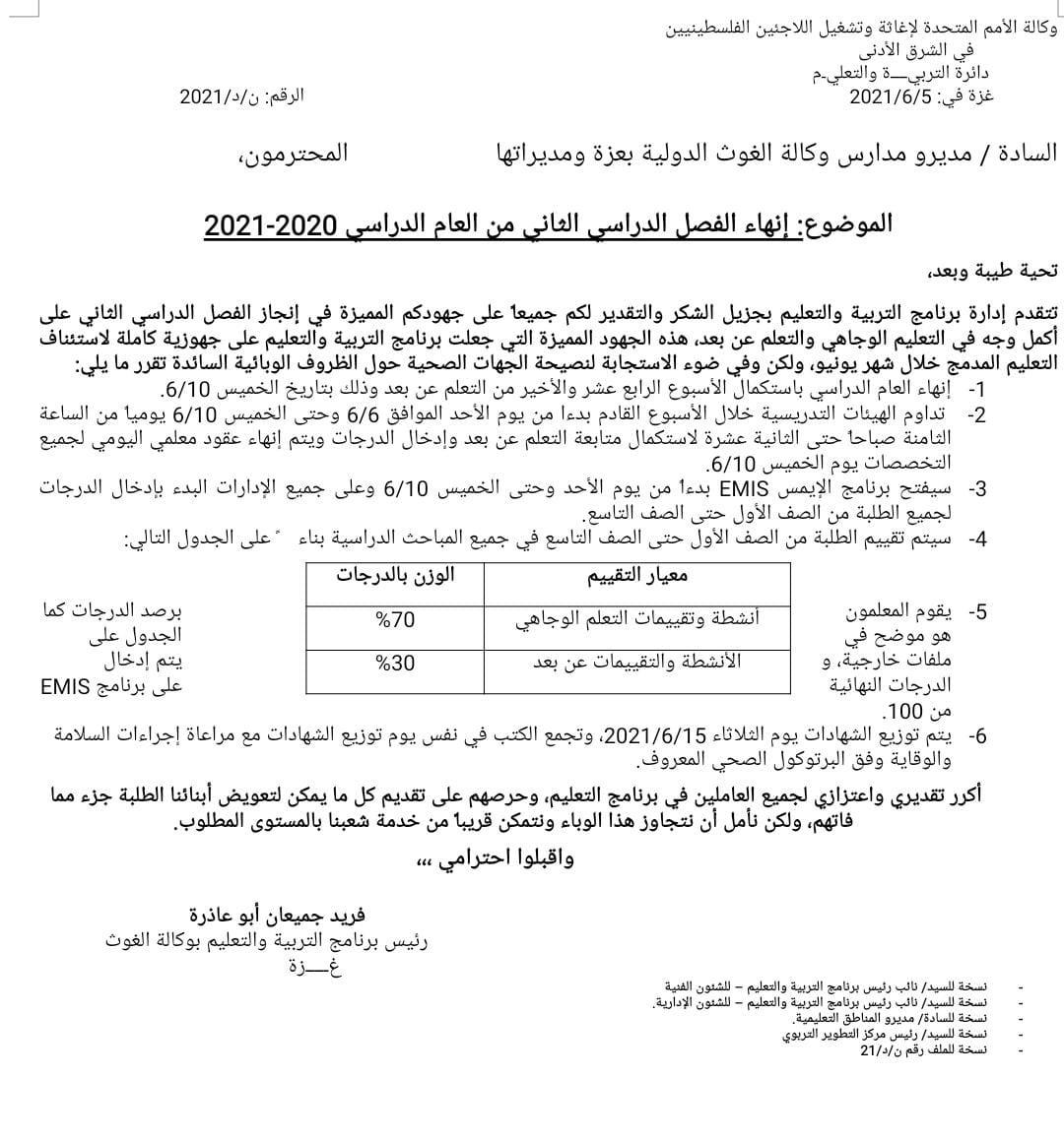 """""""أونروا"""" غزة ينهي الفصل الثاني من العام الدراسي 2020- 2021"""