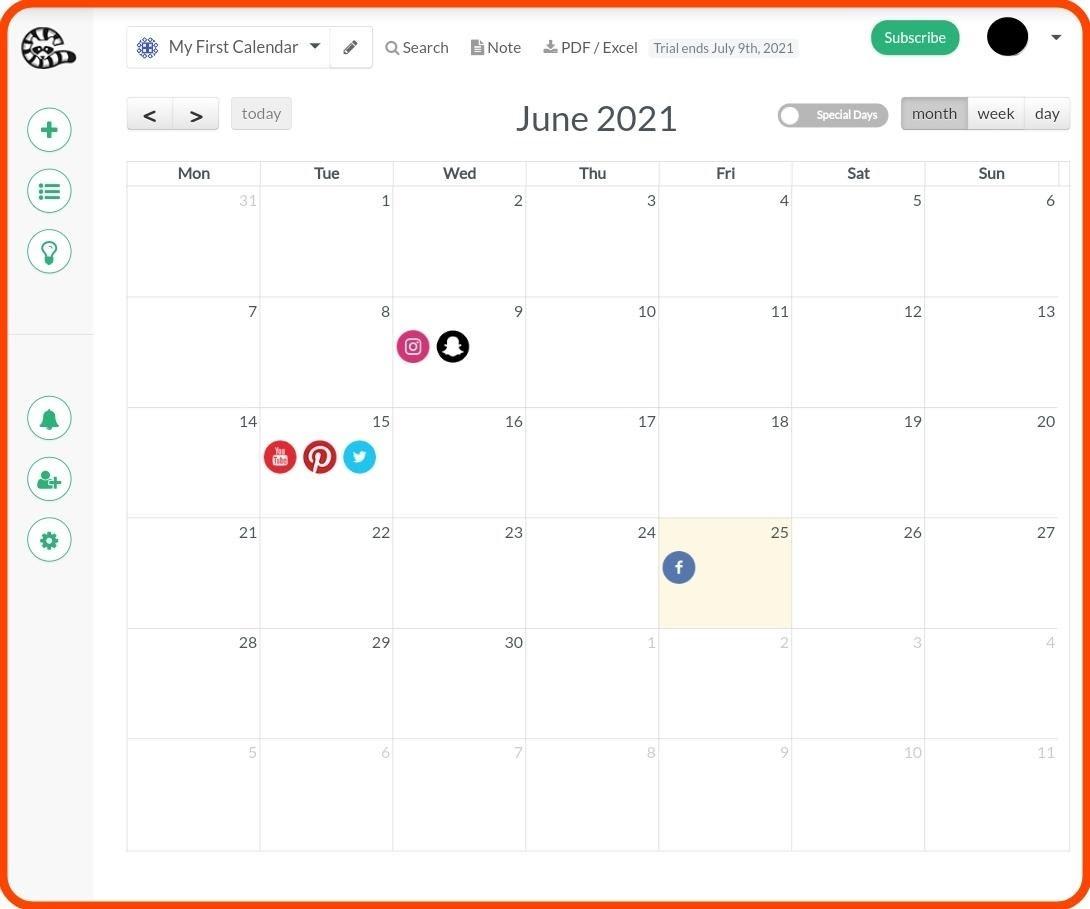 شاهدوا | تقويم افتراضي من خدمة ContentCory لنشر المنشورات على مواقع التواصل