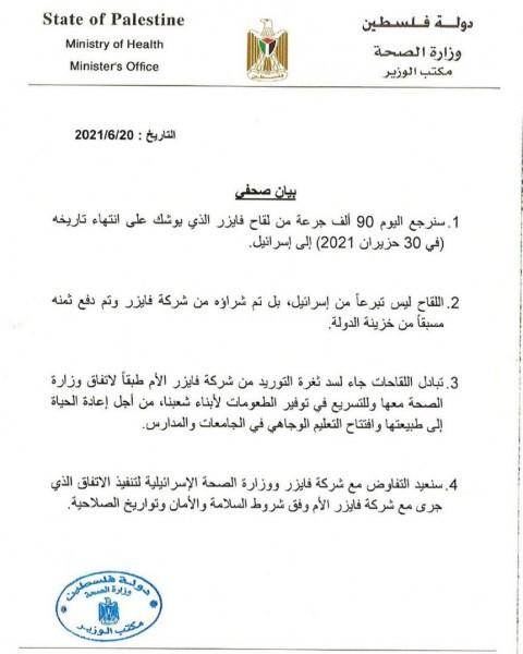 """الصحة برام الله: سنُعيد اليوم 90 ألف جرعة من لقاح فايزر إلى """"إسرائيل"""""""
