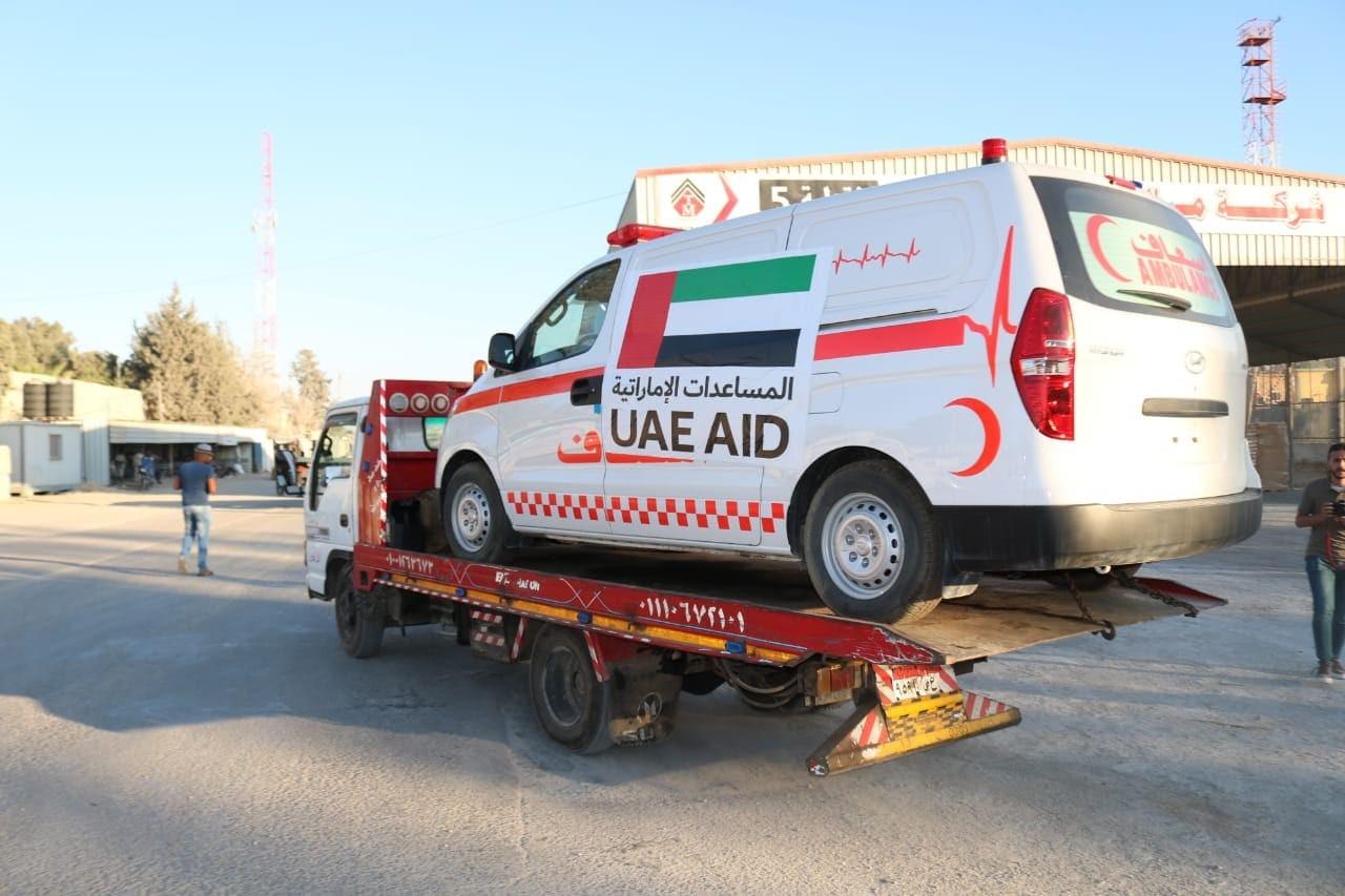 وصول 20 سيارة إسعاف بدعمٍ من دولة الإمارات إلى قطاع غزة