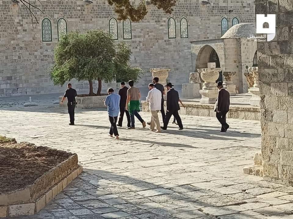 شاهد: عشرات المستوطنين يقتحمون باحات المسجد الأقصى