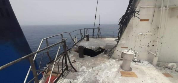 شاهد: الإعلام العبري ينشر صورًا للسفينة المستهدفة بخليج عمان