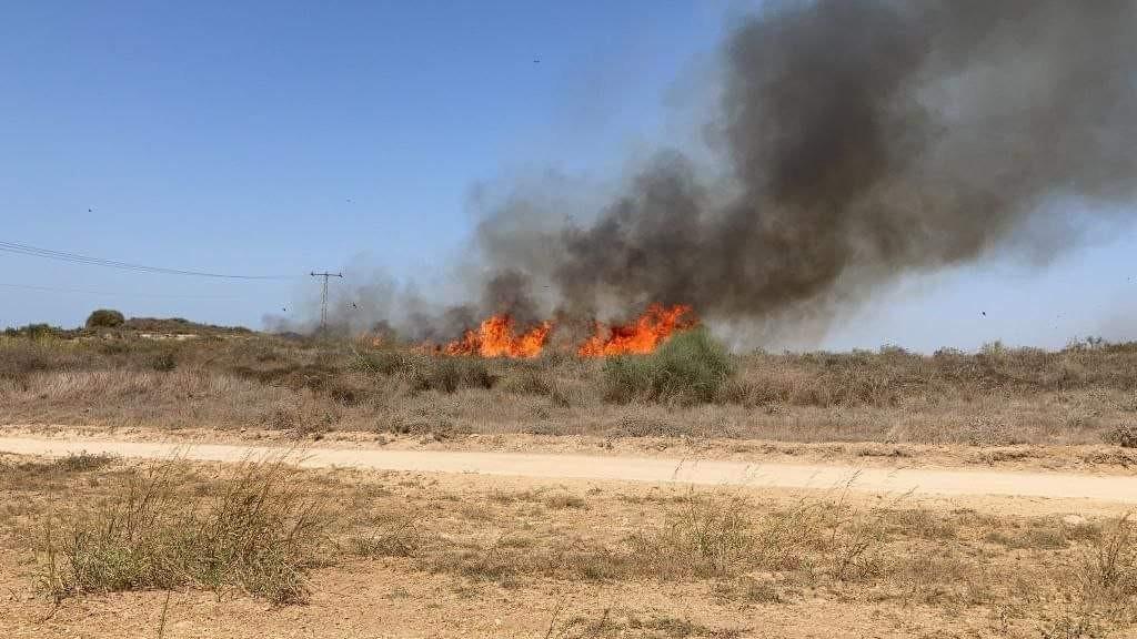 اندلاع حريقين في غلاف غزة بفعل البالونات الحارقة